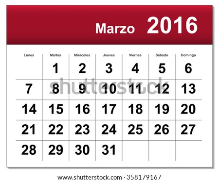 Spanish version of March 2016 calendar. - stock photo