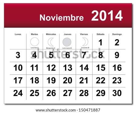 Spanish version of November 2014 calendar.  - stock photo