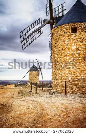 spanish windmills. Toledo province - stock photo