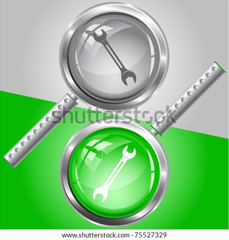 Spanner. Raster magnifying glass. Vector version is in my portfolio. - stock photo