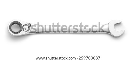 spanner ratchet wrench isolated - stock photo