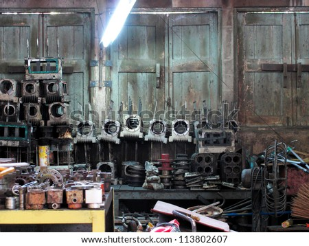 spare part for trains engine - stock photo