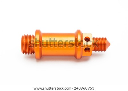 Spare part of motorcycle for decorating and maintenance on white background - stock photo