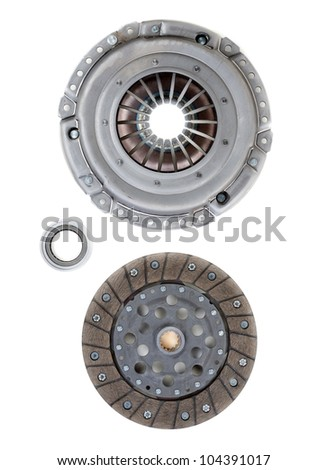Spare parts of motor vehicle forming clutch plate and disc - stock photo