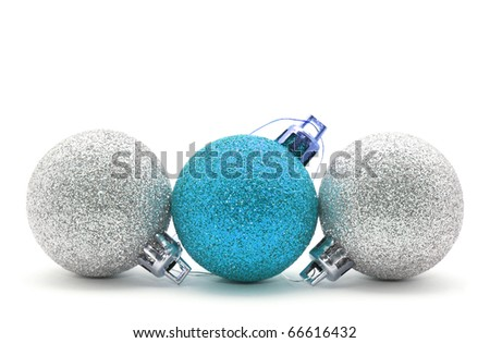 Sparkle christmas baubles isolated on white - stock photo