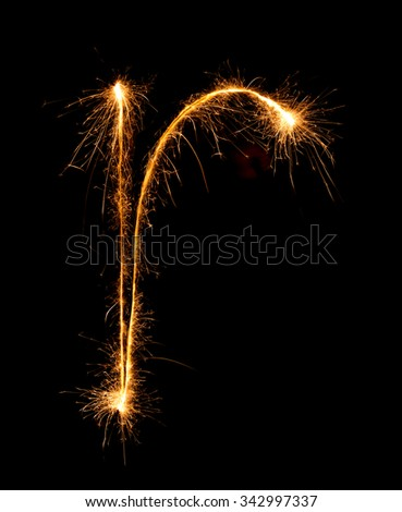 Sparkler firework light alphabet r (Small Letters) at night background - stock photo