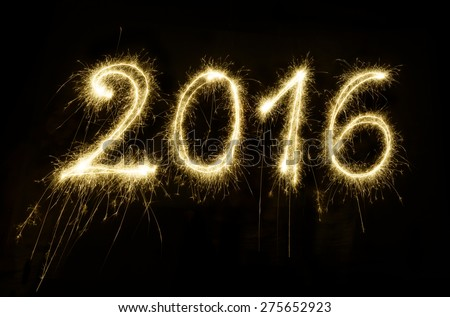 Sparkler New year 2016 - stock photo