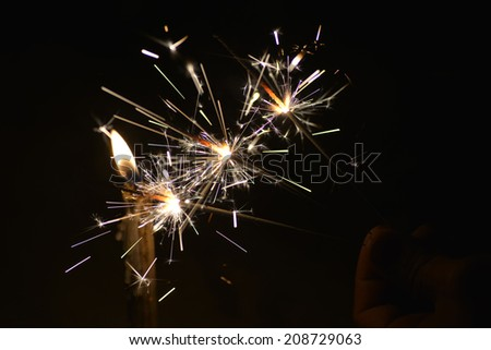 Sparklers or holiday sparkler macro close up - stock photo