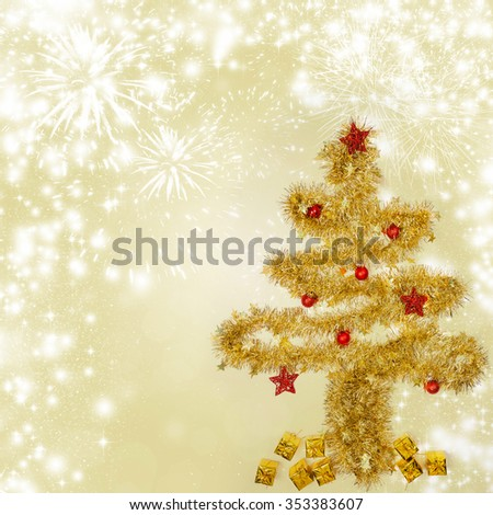 Sparkling Christmas background with golden Christmas tree - stock photo