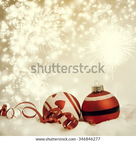 Sparkling Christmas background with red baubles - stock photo