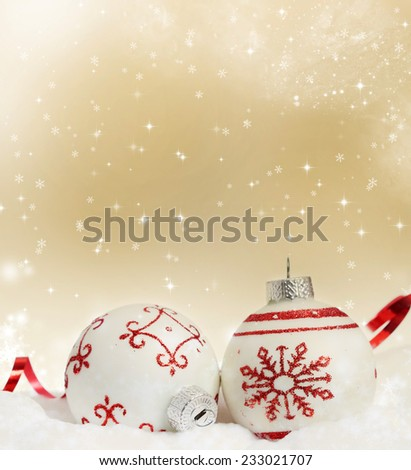 Sparkling Christmas background with red Christmas balls and decoration - stock photo