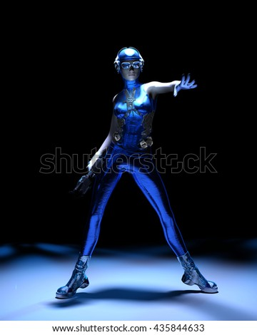 Sparkling cyber girl in blue sci-fi outfit on black background 3d render - stock photo