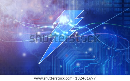sparkling lightning bolt with electric effect - stock photo