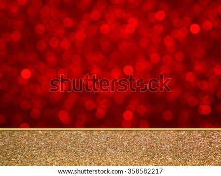 sparkling red bokeh wall and glitter floor, mock up for display of product - stock photo