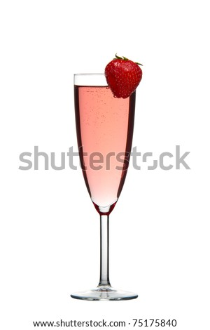 Sparkling red champagne drink with Strawberry isolated on white background - stock photo