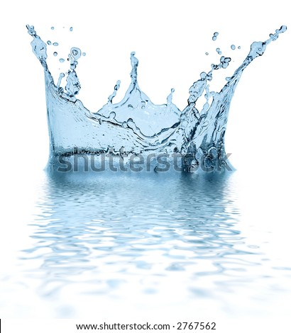 Sparks of blue water on a white background ... - stock photo