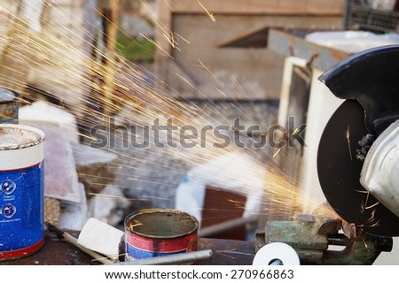 sparks when working on the machine                                - stock photo