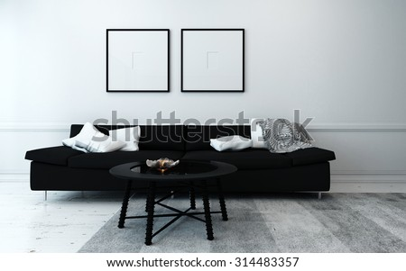 Sparsely Decorated Modern Living Room with Black Sofa, Coffee Table, and Artwork Hanging on Wall with White Decor Accents. 3d Rendering - stock photo