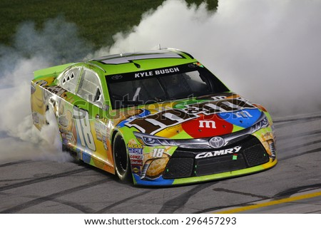Sparta, KY - Jul 11, 2015:  Kyle Busch (18) wins the Quaker State 400 at Kentucky Speedway in Sparta, KY. - stock photo