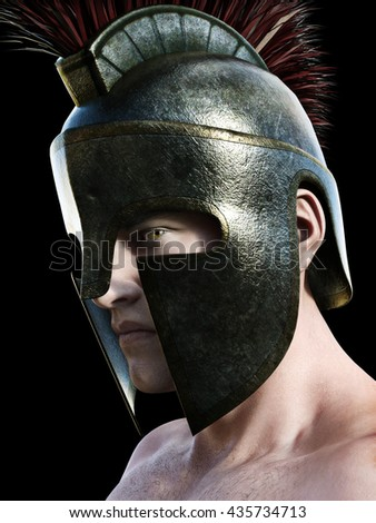 Spartan warrior wearing traditional helmet .Angled profile looking toward the camera on a black background. 3d render - stock photo