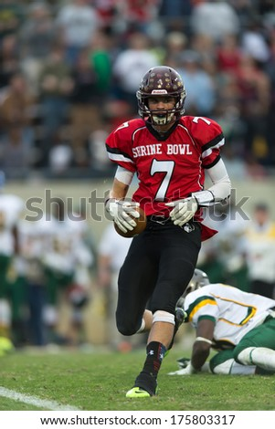 Spartanburg, SC - December 21, 2013 #7 Blake Bone after a big catch in the Shrine Bowl - stock photo
