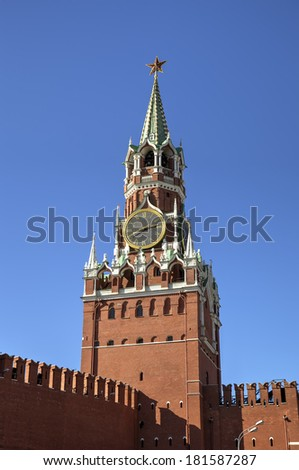Spasskaya tower of Moscow Kremlin. Red square, Moscow, Russia - stock photo