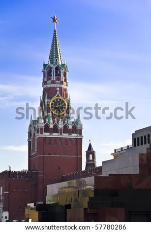 Spasskaya tower of Moscow Kremlin Russia - stock photo