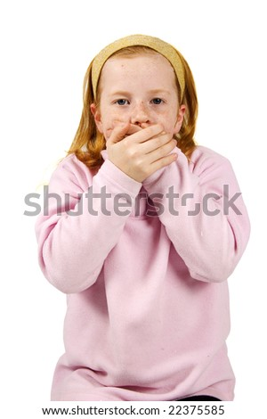 speak no evil played by a little red hair girl - stock photo