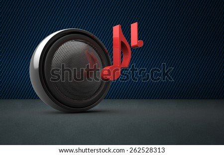 Speaker and music notes as concept - stock photo