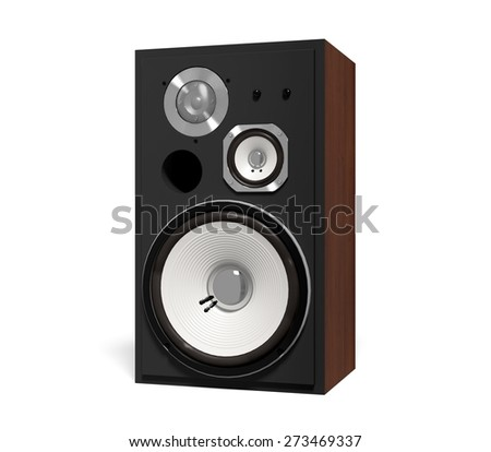 Speaker. 3D. Isolated loudspeaker - Front shot *clipping path included* - stock photo