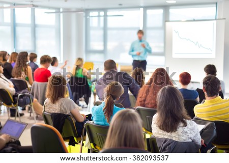 Speaker Giving a Talk at Business Meeting. - stock photo