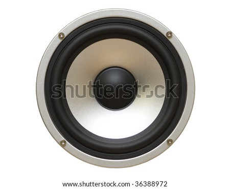 Speaker isolated on white,clipping path - stock photo