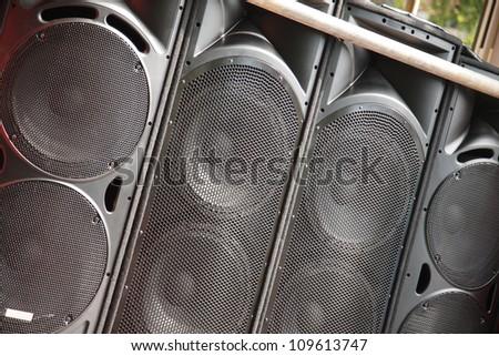 Speaker System at Leeds Carnival - stock photo