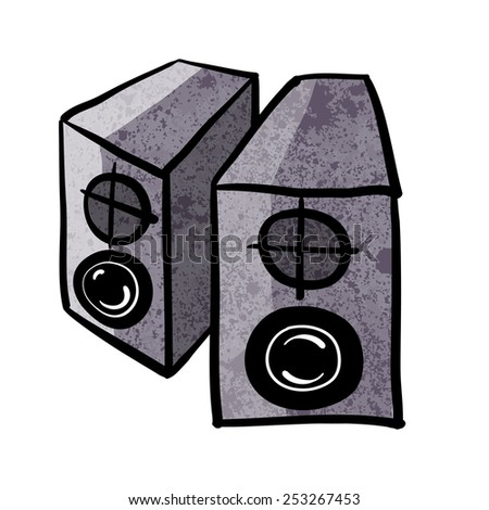 Speakers. A children's sketch. Color image - stock photo
