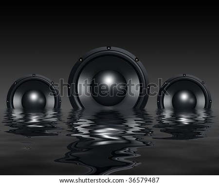 Speakers in water - stock photo