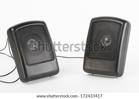 Speakers on the white background - stock photo