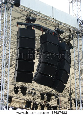 Speakers, sound system for concert. - stock photo