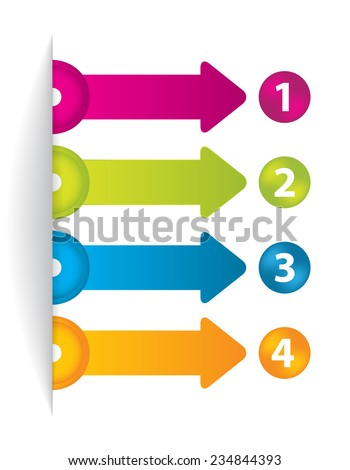 special arrow stickers set with numbered buttons - stock photo