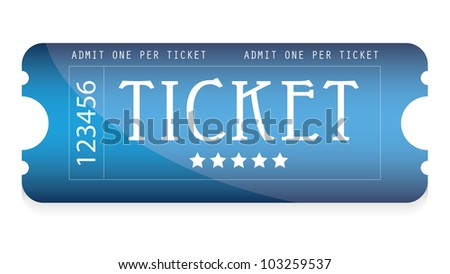 special blue movie ticket for your website - stock photo