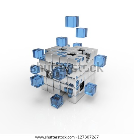 Special cubic 3d background - stock photo