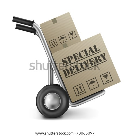 special delivery cardboard box sack or hand truck isolated on white special shipment of order from online internet web shop - stock photo