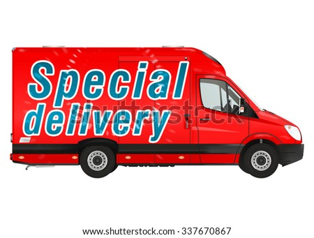 Special delivery. Red courier van on the white background. Raster illustration. - stock photo