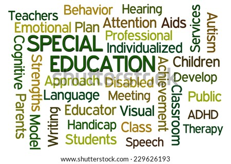Special Education word cloud on white background - stock photo