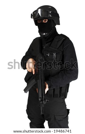 Special force soldier in black tactical suit. - stock photo