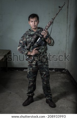 Special force with the gun, soldier - stock photo