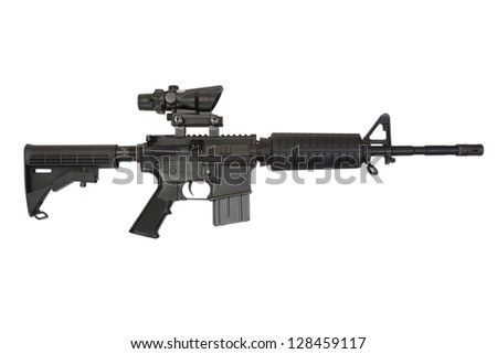 special forces rifle M4 isolated on a white background - stock photo