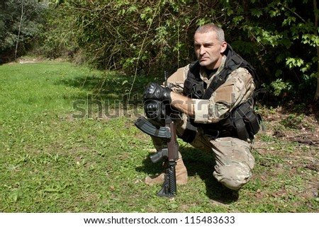 Special Forces soldier resting before the event - stock photo