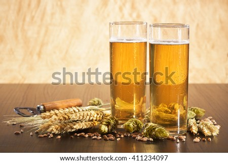 Special German Cologne beer glasses with hops, wheat, grain, barley and malt in yellow light - stock photo