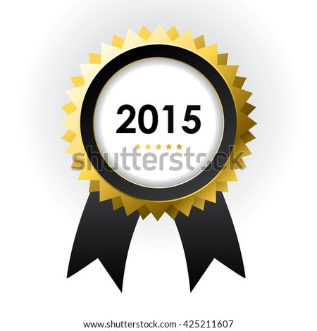 special label with ribbons - best of 2015 sign - stock photo