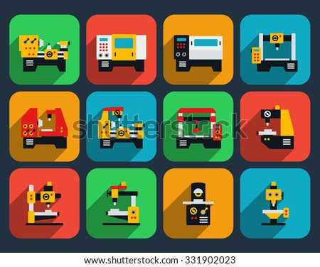 Special machine tools flat icons - stock photo